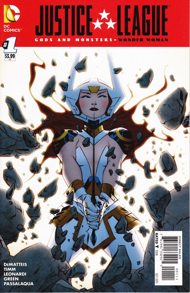 New God Bekka slashes with her mighty sword as Wonder Woman in DC's alternate universe.