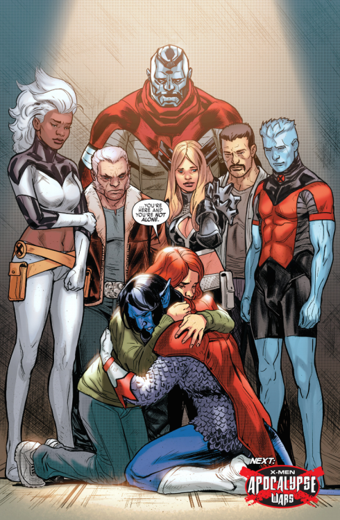 Extraordinary X-Men #7 Jean Grey hugs Nightcrawler as Storm, Wolverine, and others look on.