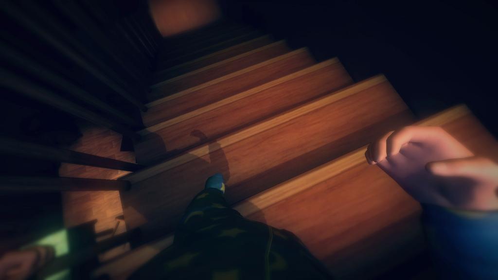 Among the Sleep Baby hands on stairs