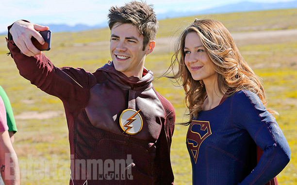 Grant Gustin's Flash and Supergirl Meet. Credit - Michael Yarish/CBS