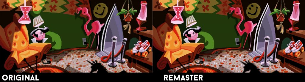Day of the Tentacle Remastered graphics comparison scene