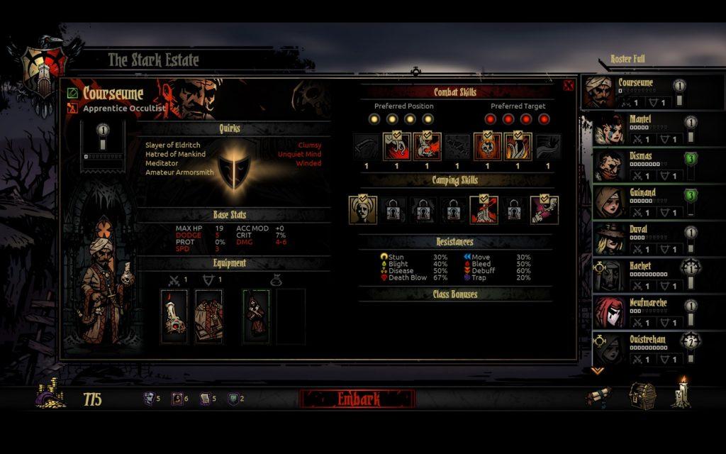 Darkest Dungeon Character Sheet