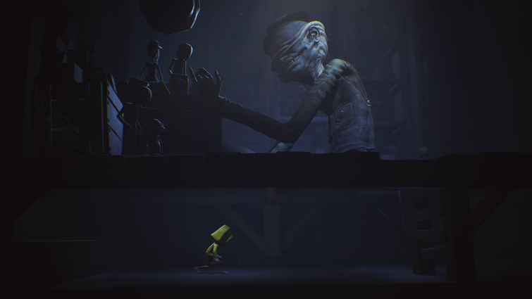Little Nightmares hiding from long armed Janitor monster