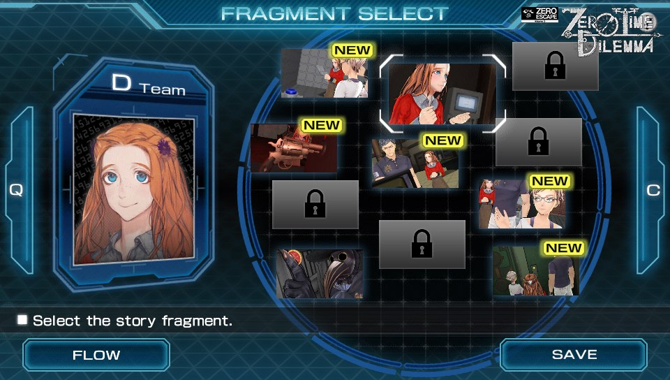 The fragment select screen of Zero Time Dilemma