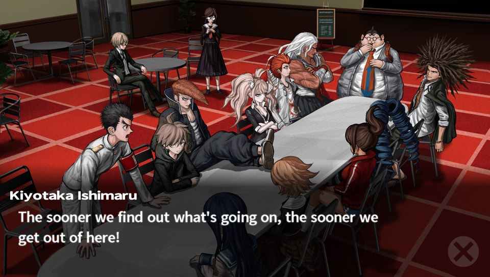 Danganronpa students in dining hall