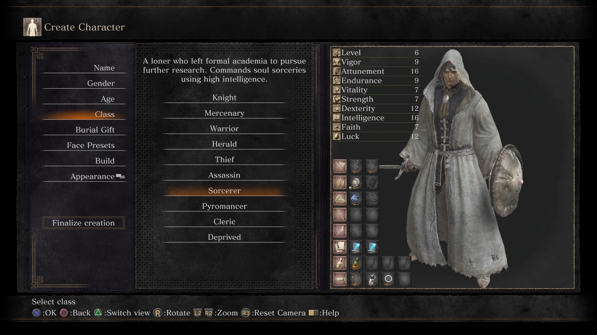 Dark Souls 3 Character Class Selection