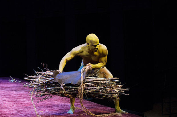 "Wayne T. Carr as Caliban, Oregon Shakespeare Festival's 2014 production of ""The Tempest"""