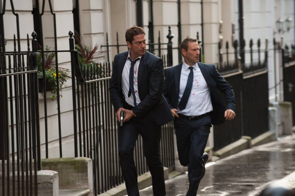 London Has Fallen stars Gerard Butler and Aaron Eckhard run through London.