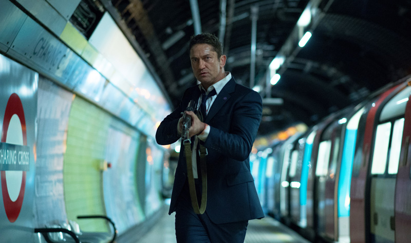 London Has Fallen star Gerard Butler in the underground.