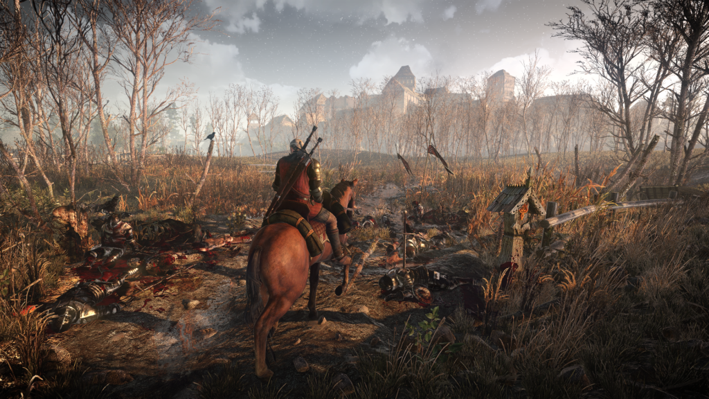 In Witcher 3 you explore some amazing environments on your trusty steed Roach. Except when you get cocky, charge into monsters and he kicks you off. Oops.