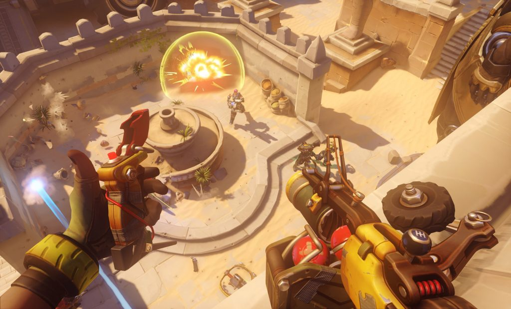 Junkrat is a crazy Australian explosives fiend with grenade launcher, remote mines and bear traps. Credit: Blizzard Entertainment