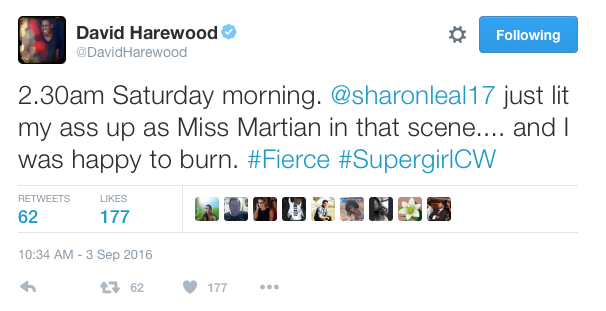 David Harewood on Sharon Leal's Miss Martian. Considering Jonn Jonnz's weakness, lets hope it wasn't real fire. Source - @DavidHarewood on Twitter