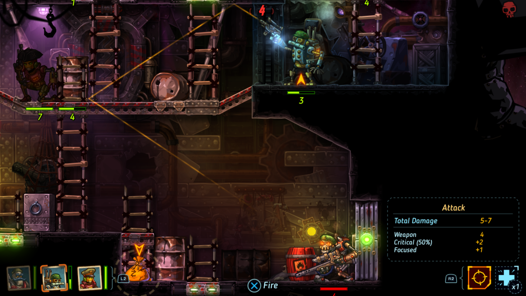 Steamworld Heist ricochet shots