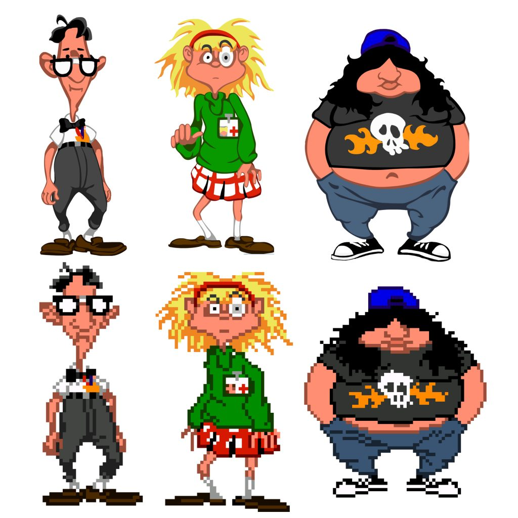 Day of the Tentacle Remastered Graphics Comparison Characters