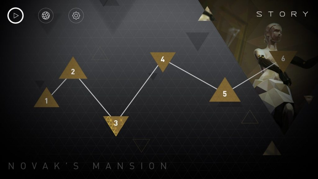 Deus Ex Go Level Select Screen