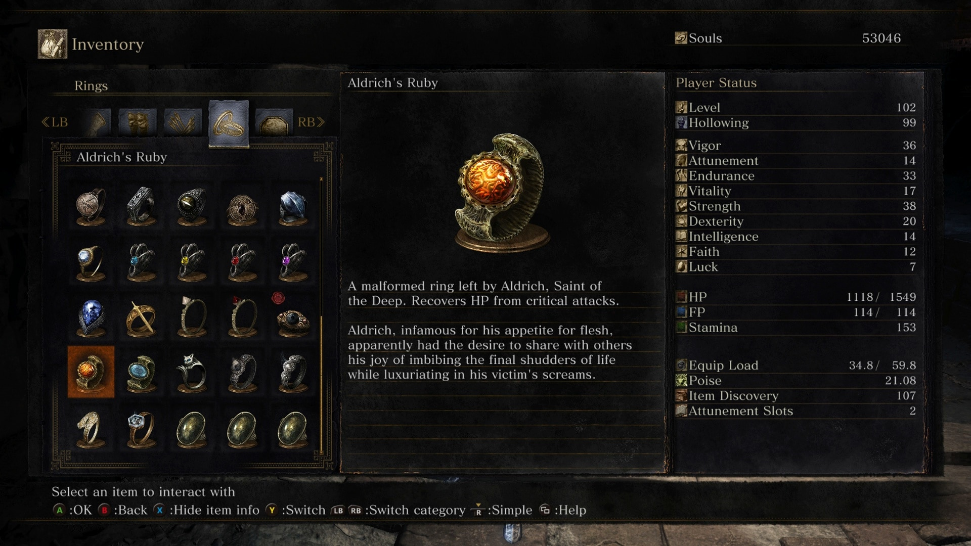 Dark Souls 3 Item Description Aldritch Ring