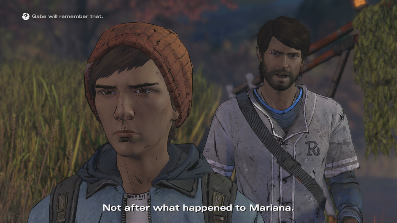Walking Dead A New Frontier Gabe conversation choice he will remember that