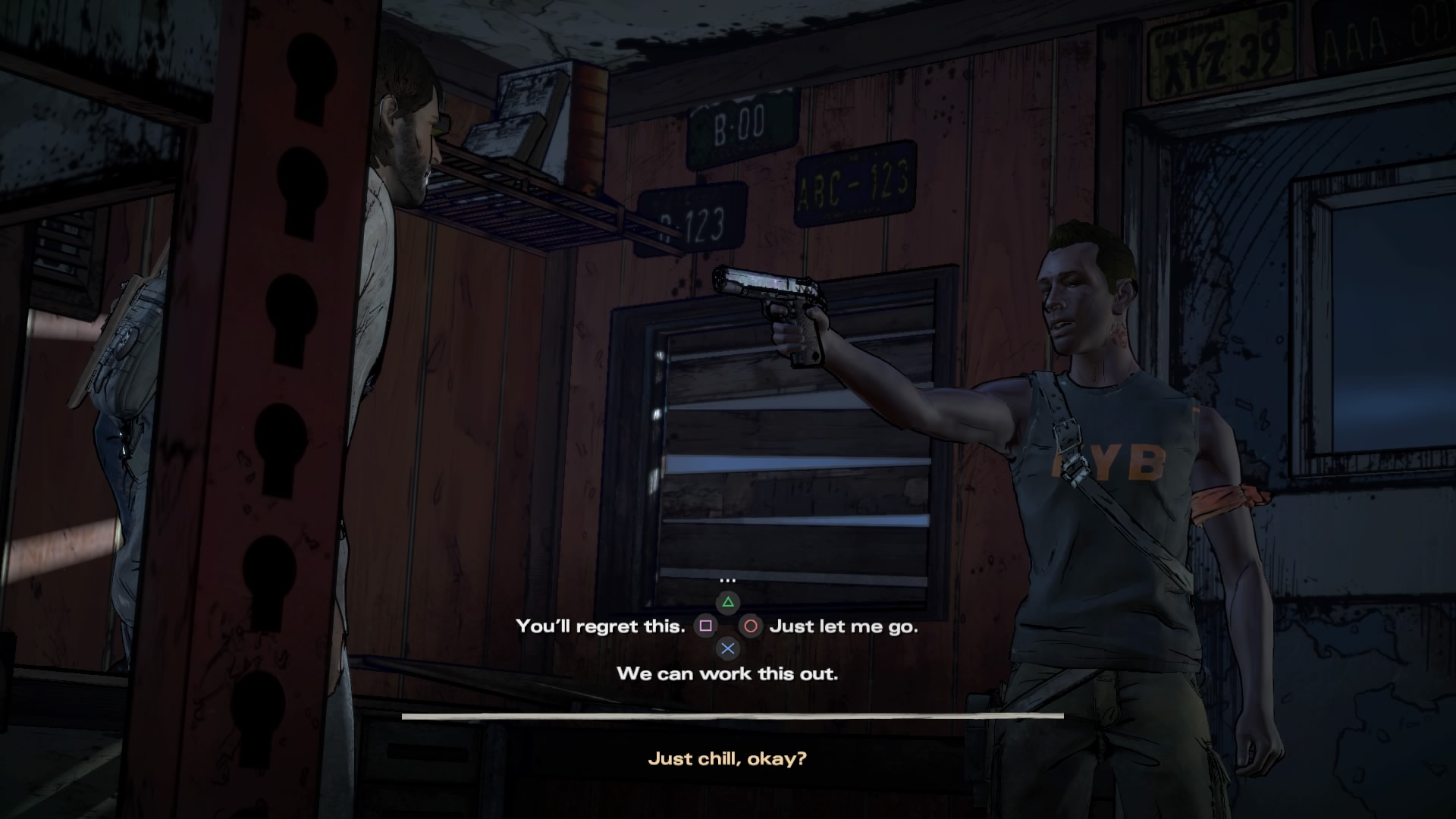 Walking Dead A New Frontier hold up choice fight