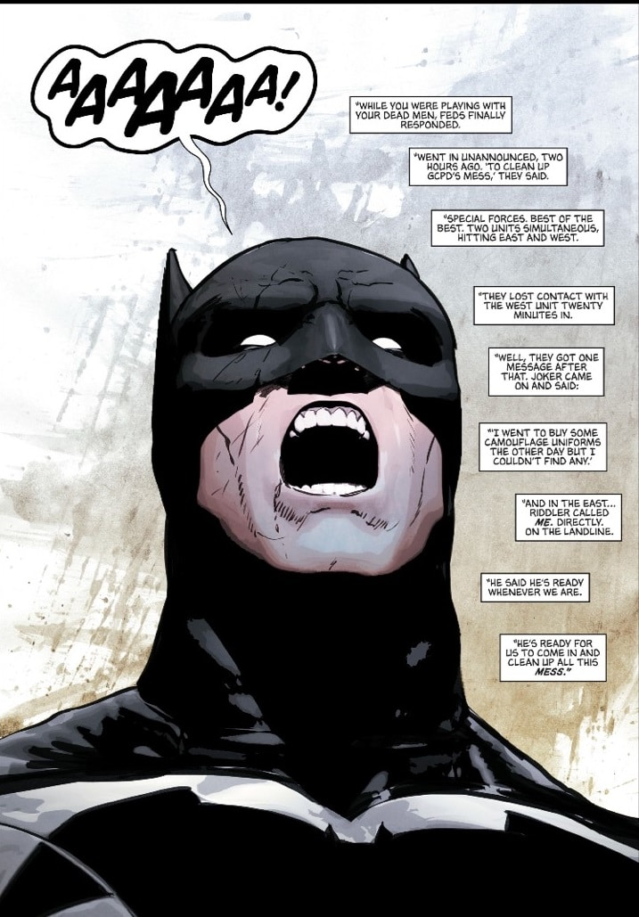 Batman losing it. Courtesy of DC Comics.