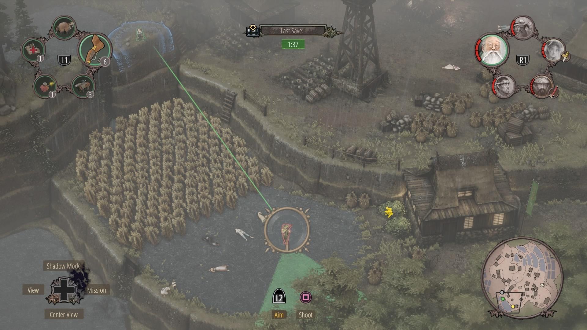 Shadow Tactics Rice paddies Sniper