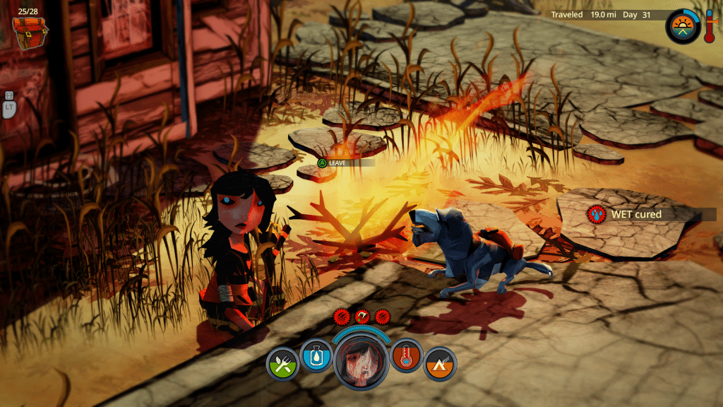 The Flame in the Flood Scout and Aesop at fire