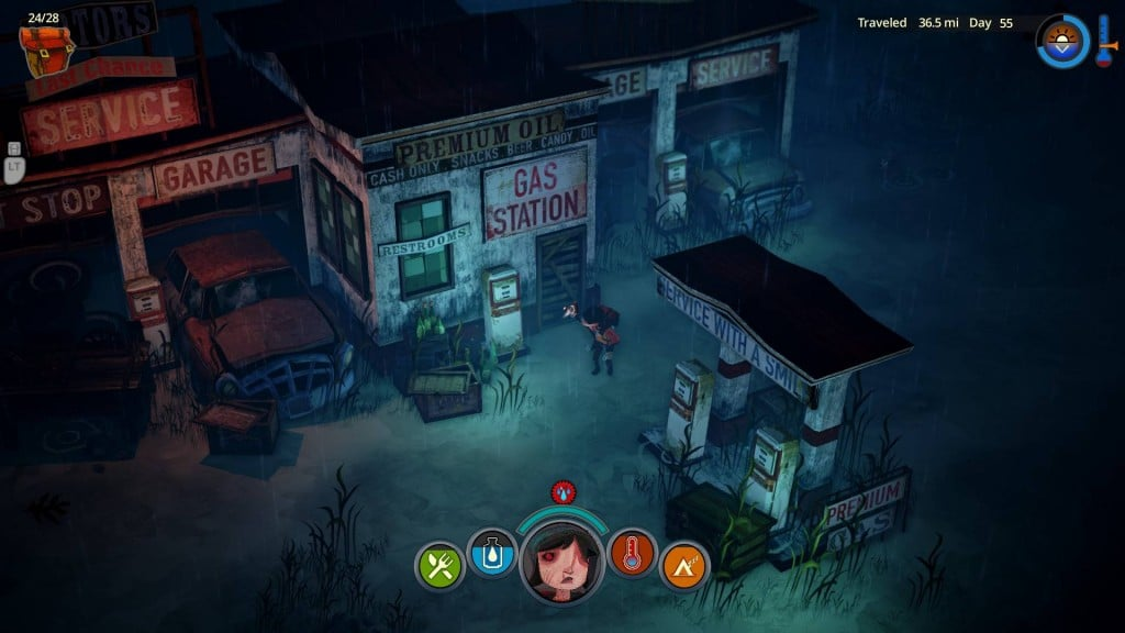 The Flame in the Flood Night time gas station
