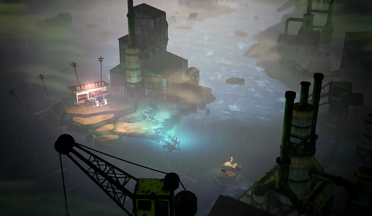 The Flame in the Flood rafting through industrial zone
