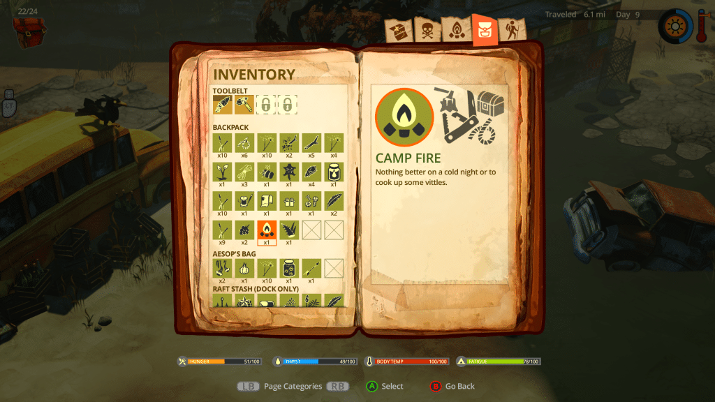 The Flame in the Flood Inventory