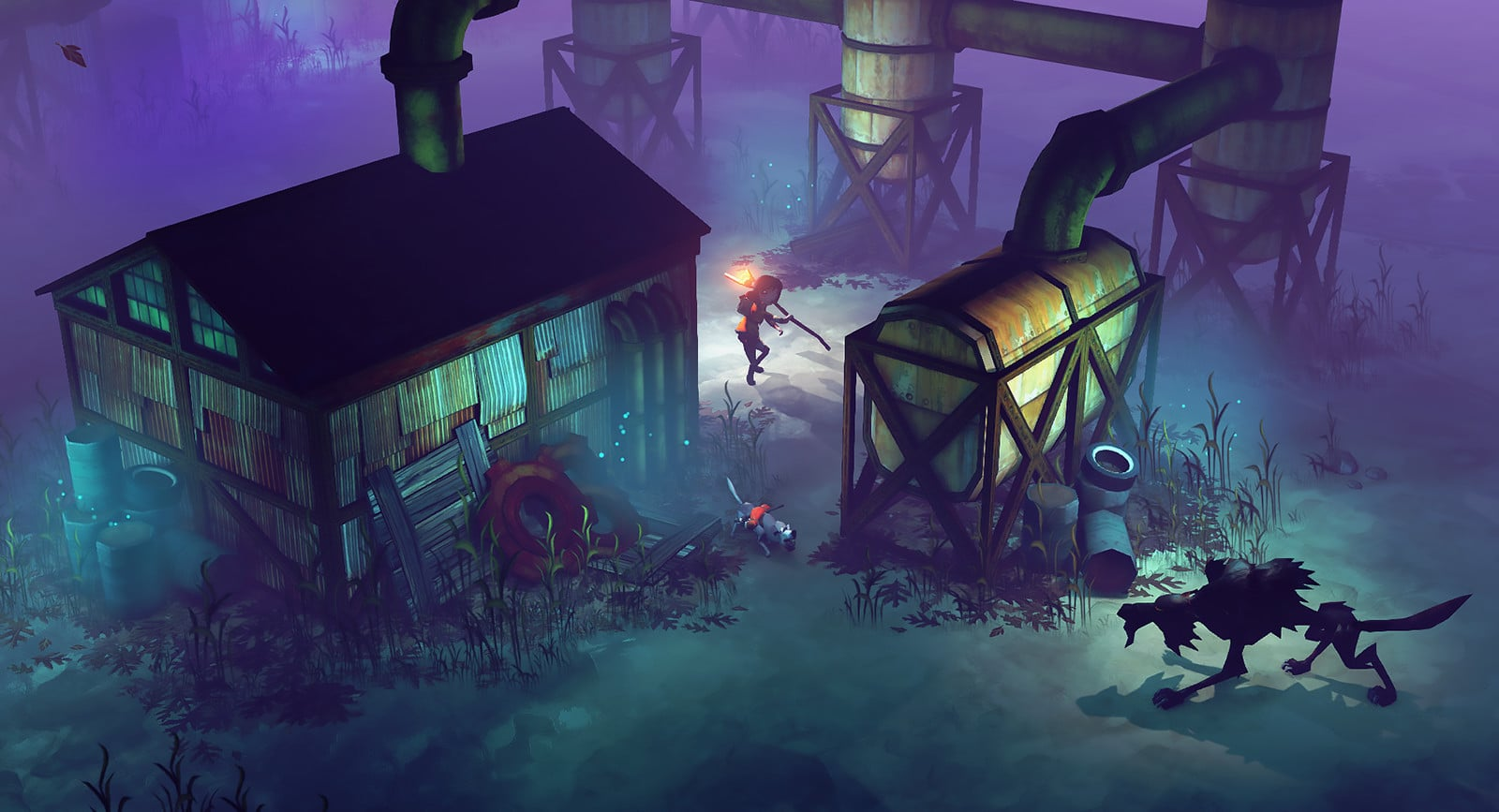 The Flame in the Flood Wolf at Night