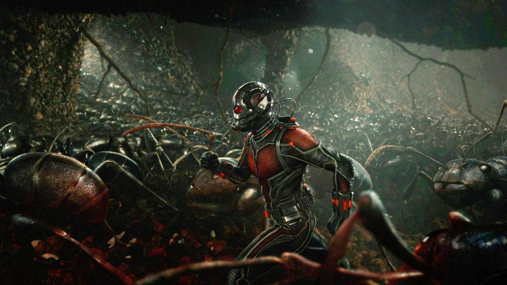 Ant-Man running with his Army of Ants